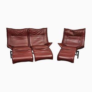 Veranda Leather Sofa Set by Vico Magistretti for Cassina, 1980s, Set of 2