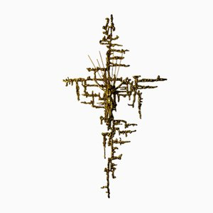 Vintage Kruzifix in Messing, 1980er