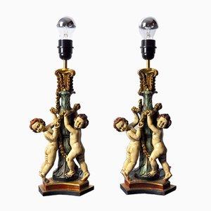 Vintage Cherub Lampen, Frankreich, 1970, 2er Set