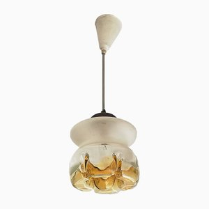 Small Mid-Century Frosted and Yellow Glass Ceiling Lamp, 1950s