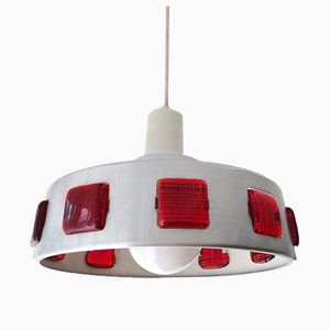 Danish Industrial UFO Brushed Silver Ceiling Hanging Lamp, 1960s