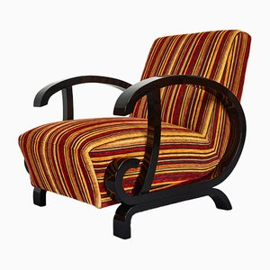Hungarian Art Deco Armchair with High Gloss Lacquer Black Armrests, 1940s