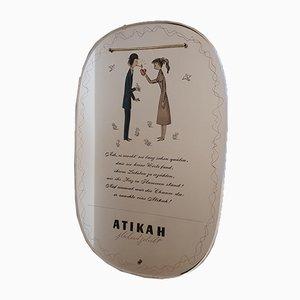 Vintage Advertising Mirror by Raymond Peynet for Atikah Cigarettes, 1950s