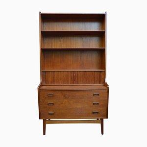Mid-Century Modern Danish Teak Secretaire with Bookcase, Tambour Doors & Drawers by Johannes Sorth, 1960s