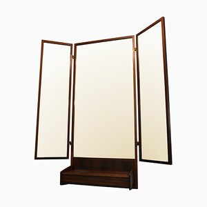 Mid-Century Modern Danish Rosewood Triptych Trumeau / Hanging Dressing Mirror by Melvin Mikkelsen, 1960s