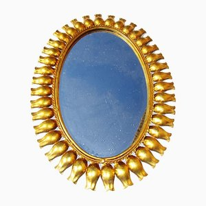 Sun Mirror with Tulip-Shaped Frame Decoration