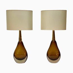 Mid-Century Sommerso Murano Glas Tischlampen von Seguso Vetri Darte, 2er Set