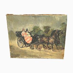 Ölgemälde, Paar in einem Pferdeteam, Bousquet