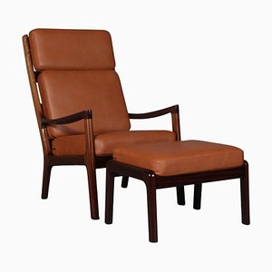 Mahogany and Leather Lounge Chair with Ottoman by Ole Wanscher for Cado, Set of 2