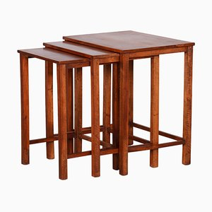 Brown Nesting Tables, 1930s, Set of 3