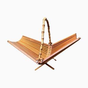 Japanese Foldable Bamboo Fruit Basket, 1950s
