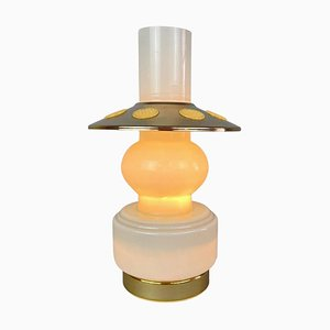 Mid-Century Opal Glass & Brass Plated Table Lamp, 1960s