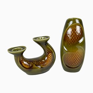 Ceramic Vase & Candle Stick by Ditmar Urbach, Czechoslovakia, 1960s, Set of 2