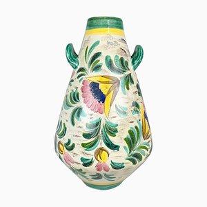Large Hand-Painted Ceramic Floor Vase, 1970s