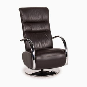 Z-Dream Star Armchair in Espresso Brown Leather with Relax Function by Ewald Schillig