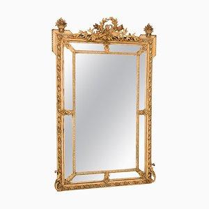 Antique French Crested Margin Mirror in Original Parcel-Gilt