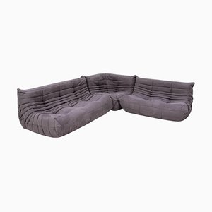 Grey Modular Togo Sofa and Footstool by Michel Ducaroy for Ligne Roset, Set of 3
