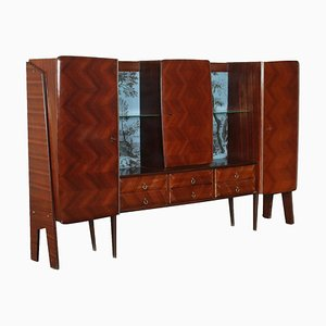 Cabinet in Veneered Wood & Glass, Italy, 1950s or 1960s