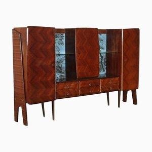 Mobiletto impiallacciato in legno e vetro, anni '50 o '60
