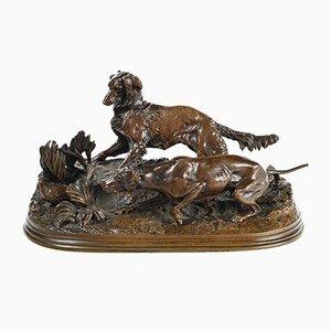 Bronze of Hunting Dogs by P. J. Mene