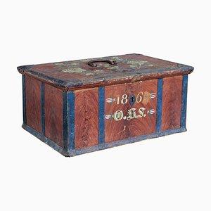 Caja sueca pintada de mediados del siglo XIX