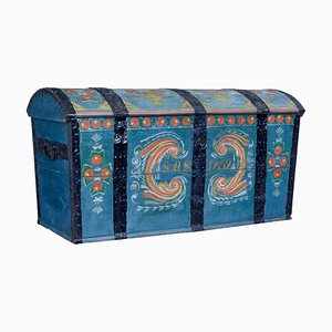 Mid-19th Century Swedish Hand-Painted Dome Top Coffer in Oak
