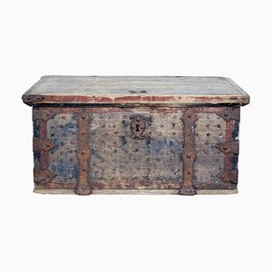 Mid-18th Century Swedish Pine Chest Decorated with Labyrinth