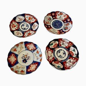 Antique Original Hand-Painted Imari Plates, Set of 4