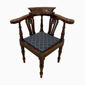 Antique George III Carved Oak Corner Chair
