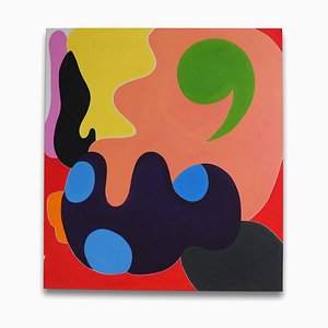 Green Comma, Abstract Painting, 2014