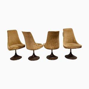 Mid-Century Fabric Swivel Chairs, 1960s, Set of 4