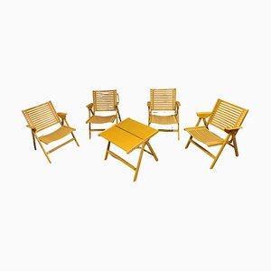 Rex Folding Chairs & Table by Niko Kralj, 1960s, Set of 5