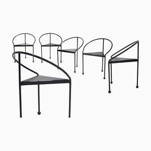 Postmodern Metallic Tripod Chair, Italy, 1980s