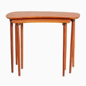 Restored Teak Nesting Table Set