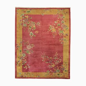 20th Century Chinese Pink and Yellow Handmade Rug, 1920-1940