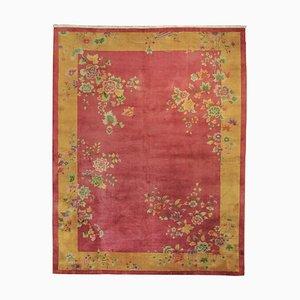 Handgeknüpfter chinesischer Teppich in Rosa & Gelb, 1920-1940