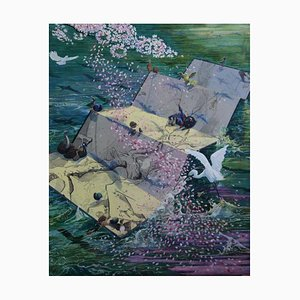 Japanese Contemporary Ar2rk by Ryohei Matsumoto, A Flower Falls & Flows to Water, 2021