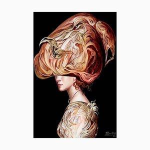 Cuban Contemporary Ar2rk von Carlos Sablon, Woman in Hat, 2020