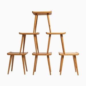 Scandinavian Modern Solid Pine Visingsö Stools by Carl Malmsten, Set of 6