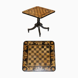 Aesthetic Movement Gold Leaf & Ebonised Chess Table, 1860s