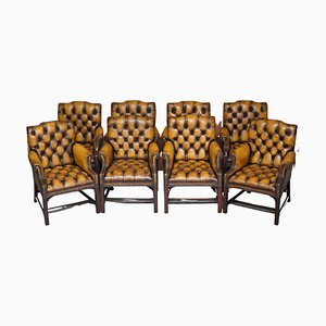 Restored Brown Leather Chesterfield Club Armchairs in the Style of Thomas Chippendale, Set of 8
