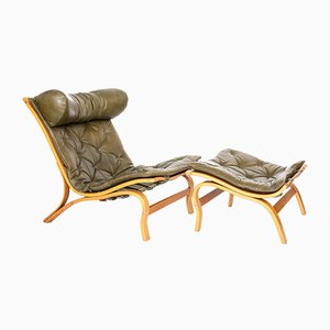 Scandinavian Lounge Chair with Ottoman by Arne Norell for Arne Norell AB, Set of 2