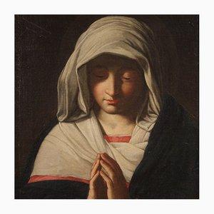 Antique Italian Painting Praying Madonna, 17th Century