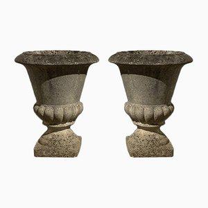 Medici Vezils in pietra ricostruita, Grandon, Francia, set di 2