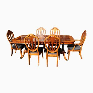 Mahogany Pull Out Table and Dining Chairs, 1960s, Set of 7