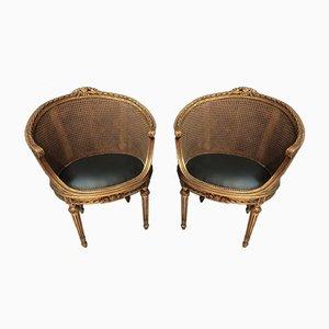 Louis XVI Armlehnstühle aus geschnitztem Holz, 2er Set