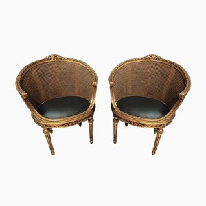 Louis XVI Style Carved Wooden Armchairs, Set of 2