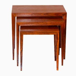 Tisch mit Palisander Tischplatte von Severin Hansen für Haslev Møbelsnedkeri, Denmark, 1960er, 3er Set