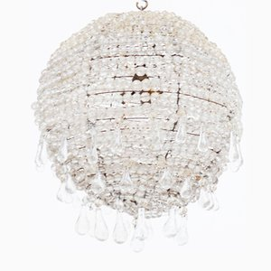 Large Ball Chandelier in Faceted Crystals with Glass Drops Pendants, France, 1920s