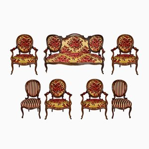 Napoleon III Style Mahogany Living Room, 1860s, Set of 7